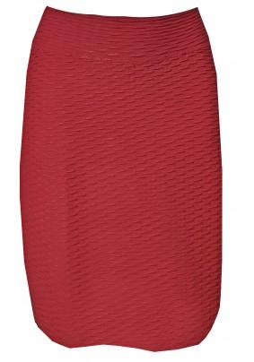 Tmavě skořicová sukně s plastickým vzorem