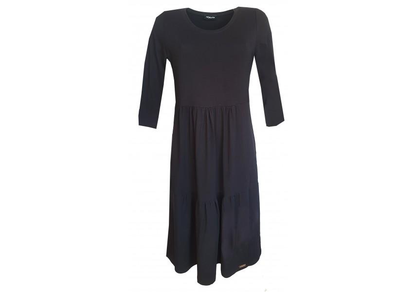 Černé kanýrové šaty s 3/4 rukávem